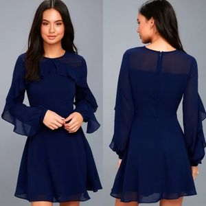 Lulu's Navy Blue Ruffle Long Sleeve Skater Dress